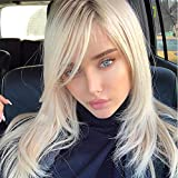 Queentas Platinum Blonde Wig for Women with Side Bangs Layered Long Straight Free Part None Lace Synthetic Hair (Platinum Blonde)