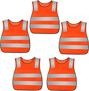 AIEOE Kids Safety Vests Reflective Traffic Waistcoat 5 Pack
