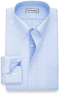 Men's Tailored Fit Non-Iron Cotton Gingham Button Down Dress Shirt