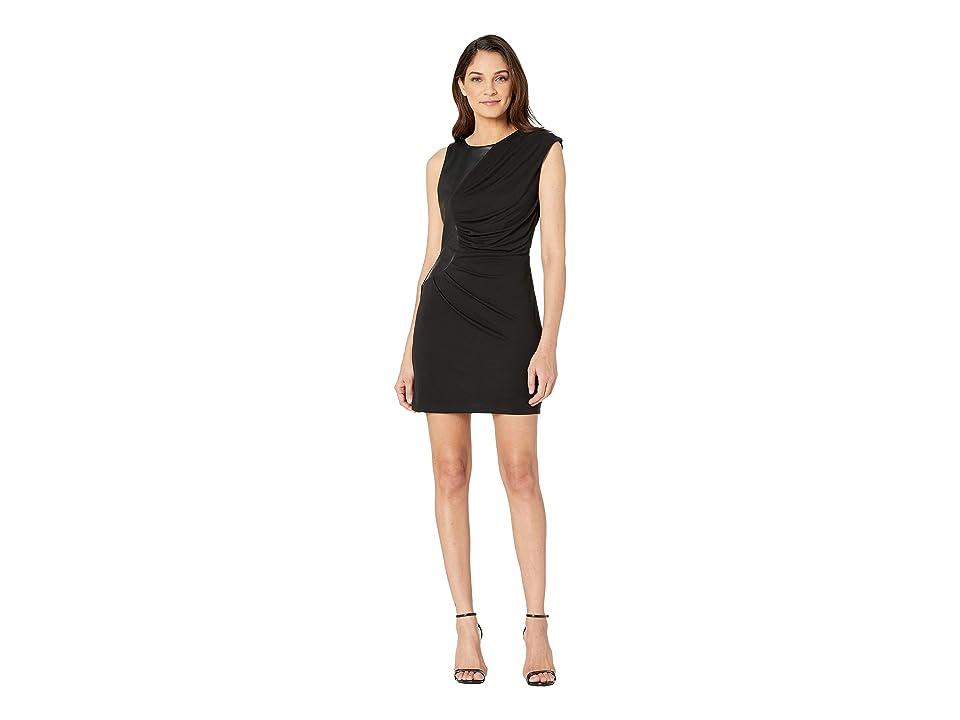 Bebe Pu Contrast Knit Dress (Jet Black) Women