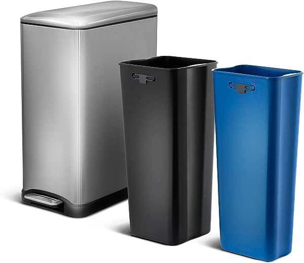 Home Zone Living VA41833A 50 升 13 加仑不锈钢双格回收垃圾桶长方形踏板 50L Silver