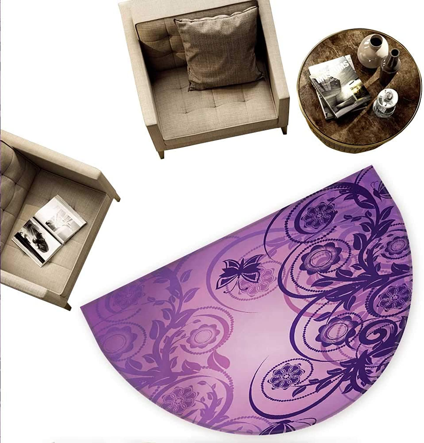 Purple Semicircular Cushion Curved Flower Branches with Butterflies Nature Spring Season Inspirations Entry Door Mat H 78.7  xD 118.1  Dark Purple purple