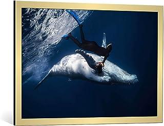 Kunst für Alle Image encadrée: Barathieu Gabriel Dancing with Whale - Impression d'art décorative, en Cadre de Haute quali...