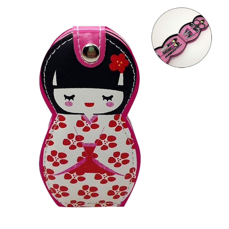 忘れられないリスクカストディアンHongma ネイルケアセット マニキュアセット 可愛い 日本人形 ロシア人形 グルーミングキット 爪やすり 爪切りセット 携帯便利 収納ケース付き (日本人形ピンク花柄)