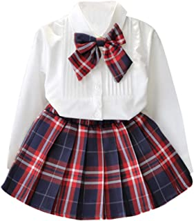 Back to School Dress for Girl Fashion Kid Toddler Girl 2pc Button Down Shirt Tops with Tie Bow + Plaid Skirt