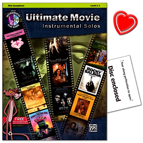 Ultimate Movie Instrumental Solos - voor Alto Sax - Book, MP3-CD - met kleurrijke hartvormige muziekklem