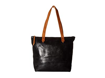 ABLE Chaltu Top Zip Tote (Black/Cognac) Tote Handbags