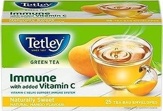 Tetley Green Tea Immune with Added Vitamin C, Reviving Mango, 25 Tea Bags