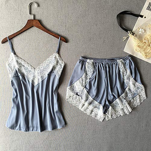 JFCDB Zomer pyjama,Sexy Patchwork Lace Dames Shorts Pyjama Set Ademende riem Dames Lingerie, Zilver, L