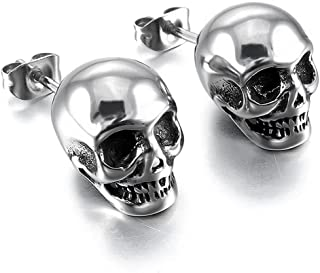 Minimalist Punk Skull Vintage Gothic Small Stud Earrings for Men Teens Personalized Hip Hop 316 Stainless Steel Chunky Stu...