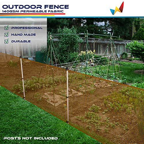 Windscreen4less Outdoor Garden Fence Mesh Netting Roll Temporary Fencing for Backyard Rabbits Chickens Poultry Vegetable Dogs 6'H x 32'L Orange