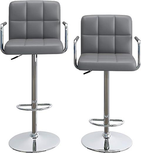 Barhocker Barstuhl 2er Set höhenverstellbar Drehstuhl mit Armlehnen drehbar Lehne Belastbar bis 160kg Grau