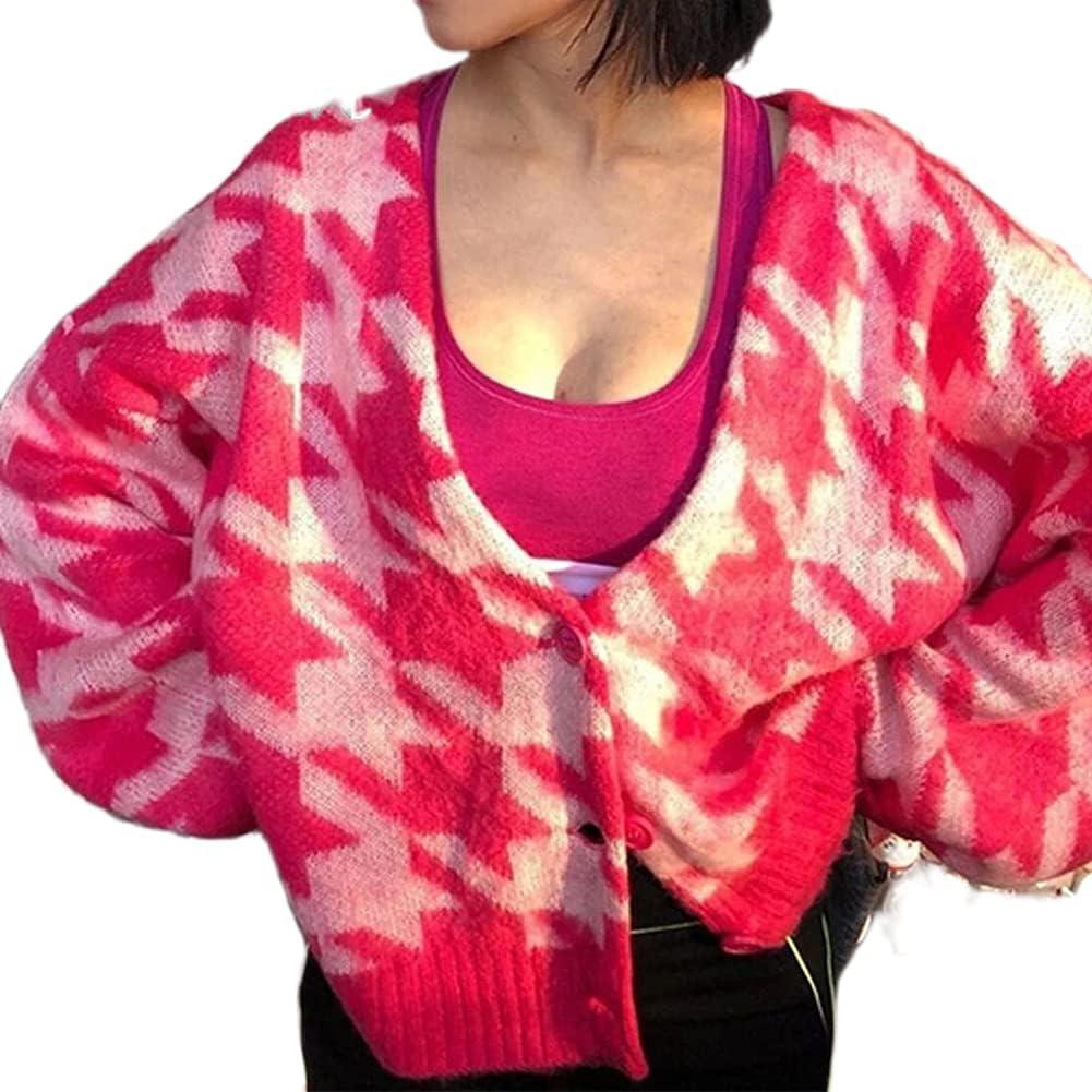 Fashion Cropped Cardigan Sweaters Women Y2K Long Sleeve Knit Button Down Jacket Top Shrugs Shirts 90S Streetwear