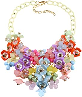 HoBST Party Choker Necklace Fashion Flower Bubble Bib Collar Chain Statement Necklaces for Women