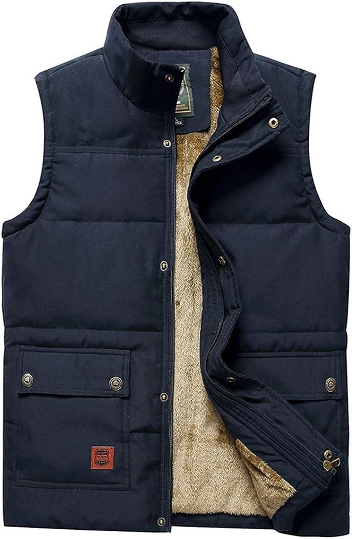 Hixiaohe Men's Casual Outerwear Vest Stand Collar Fleece Jacket Padded Vest Coat