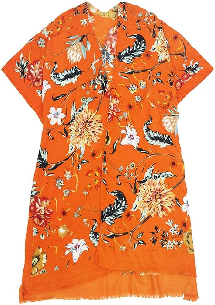 ScarvesMe Women's Soft Plaid Floral Print Kimono Shawl Cardigan Capes with Fringe