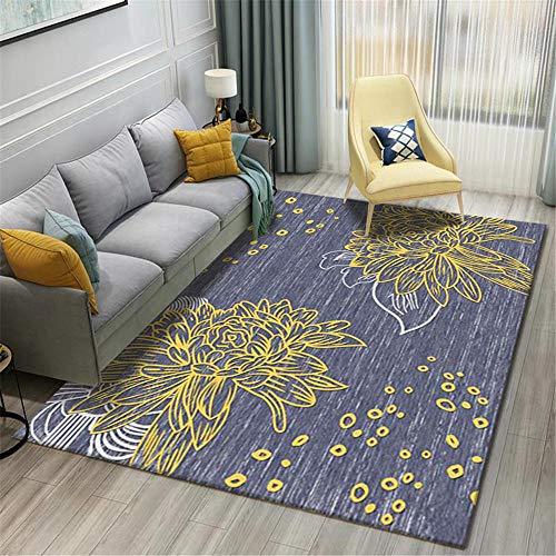 AU-SHTANG alfombras Modernas Alfombra Amarilla con diseño de Flores, fácil de Mantener, fácil de Limpiar, Alfombra Lavable antiestática Alfombra pie de Cama -Azul_El 180x280cm