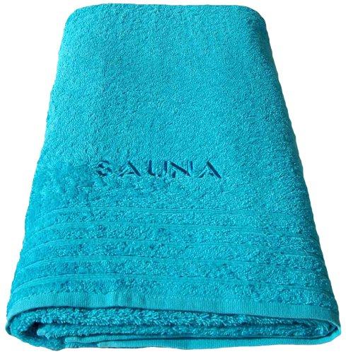 Lashuma Saunatuch 80x200 cm Türkis - Blau, Besticktes Saunahanstuch Stick: Sauna aus 100% Baumwolle
