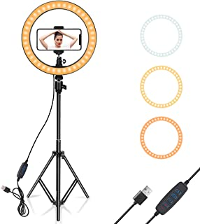 "Ring Light 10"" with Tripod Stand & Phone Holder for YouTube Video, Desktop Camera Led Ring Light for Streaming, Makeup, Se..."