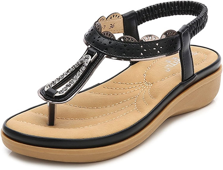 GIY Women's Low Wedge Flip Flops Sandals Bohemian Rhinestone Platform Elastic Summer Beach Thong White