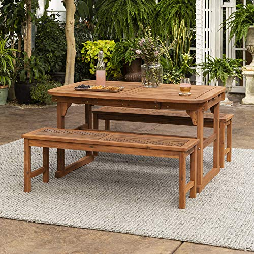 Walker Edison 6-8 Person Outdoor Wood Chevron Patio Furniture Dining Set Extendable Table Bench All Weather Backyard Conversation Garden Poolside Balcony, 3 Piece, Brown