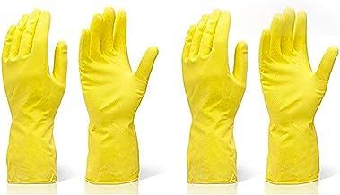TWENOZ Cleaning Gloves Reusable Rubber Hand Gloves, Stretchable Gloves for Washing Cleaning Kitchen Garden (Yellow, 2 Pair)
