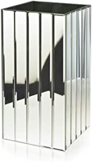 "Serene Spaces Living Tall Gatsby Mirror Strip Vase – Great Gatsby Inspired Luxe Glass Vase with Bevel Edged Mirror Strips, Use for Home Décor, Event Centerpieces and Much More, 6 ¼"" SQ x 12 ½"" H"