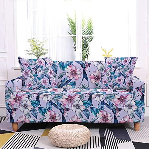Fundas elásticas para sofá, fundas elásticas con estampado floral, poliéster elástico antideslizante, duradero, diseño de pájaros, color morado