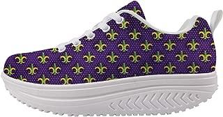 Swing Platform Toning Fitness Casual Walking Shoes Wedge Sneaker Women Mardi Gras Colors Purple Fleur-de-lis