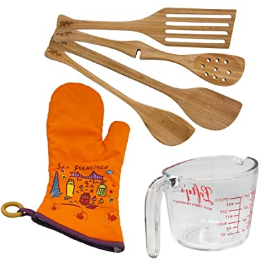Left-Handed Baker's Kitchen 6 Piece Set with utensils, Measuring Cup, and orange mitt
