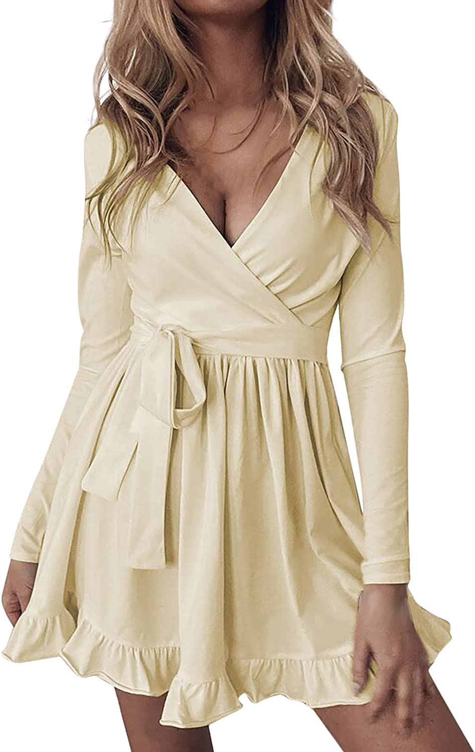 Women's Low Cut Solid Color Ruffle Hem With Tie Belt V-Neck Long Sleeve Fashion Sexy Casual Short Dress
