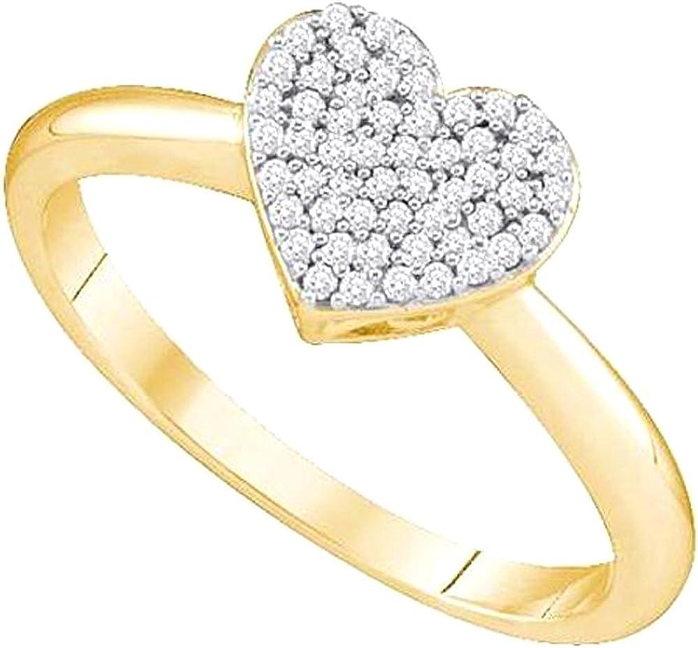 Dazzlingrock Collection 0.15 Carat (ctw) 10k Round White Diamond Ladies Heart Bridal Promise Ring, Yellow Gold