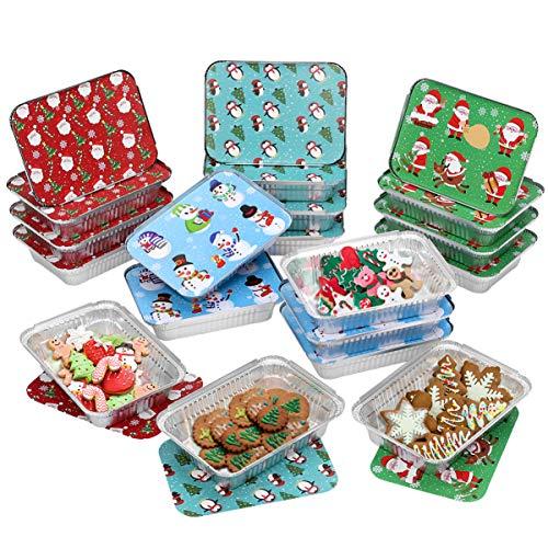 Yardwe 20PCS Weihnachts Einweg Aluschalen mit Deckeln, Aluminium-Tropfschalen - 4 Feiertag Designs, Einweg-Backform Lebensmittelbehälter Perfekt zum Grill, Behandeln von Austausch- Und Party-Resten