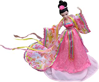 """Kylin Express Beautiful Chinese Style Handmade Ancient Costume Dress for 11.8"""" Doll Rose"""