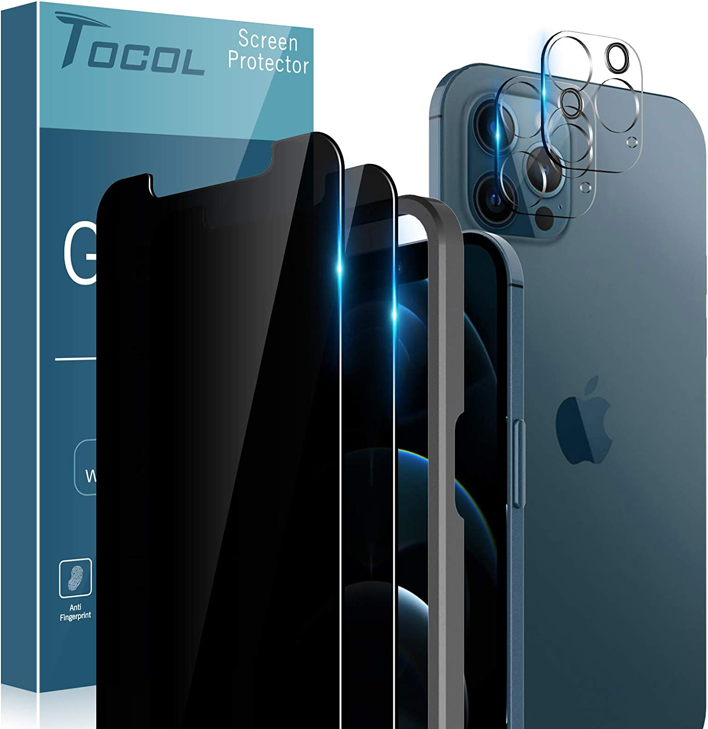 TOCOL 4 Pack Compatible with iPhone 12 Pro Max, Not for iPhone 12 Pro - 2 Pack Privacy Tempered Glass Screen Protector and 2 Pack Tempered Glass Camera Lens Protector Bubble Free Case Friendly - Black