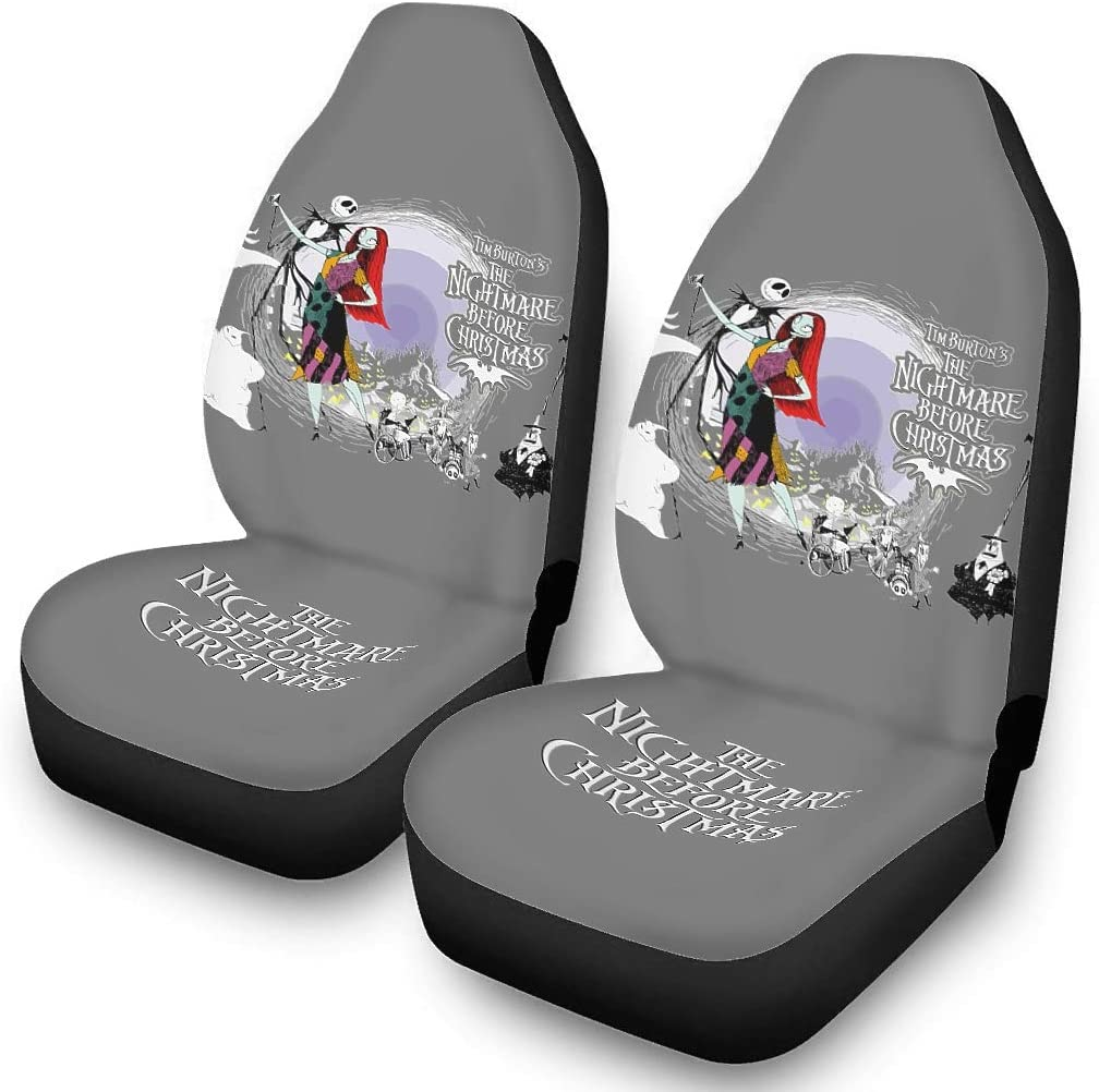 Ainiteey And Jack Nightmare Before Christmas Halloween Car Seat Cover Set Durable Soft Seat Cushion Protector,Easy to Put on The Seat white onesize