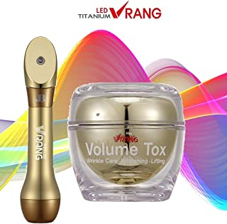 Korean Skincare Device LED Vrang Beauty Bar System with INCLUDED Volume Tox Anti Aging Cream utilizing LED Light Therapy Galvanic Ion Vibration Face Massager MADE IN KOREA