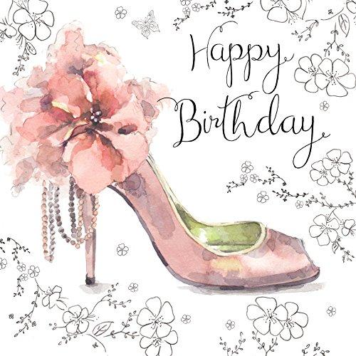 Twizler Geburtstagskarte, für Sie, mit Silberfolie, einzigartiger Aquarell-Effekt undrosafarbenes Schuhmotiv, besonders für Damen