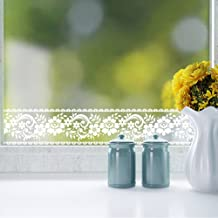 3.94in. X 32.8ft. Roll White Lace Transparent Removable Self Adhesive Wallpaper Border Peel and Stick Wall Border Waterproof Window Film Glass Sticker Bathroom Mirror Decor Rustic Floral