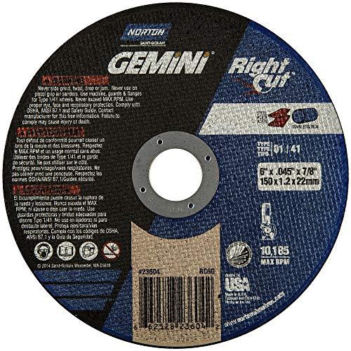 Norton Gemini Right Cut Right Angle Grinder Reinforced Abrasive Flat Cut-off Wheel, Type 01, Aluminum Oxide, 7/8