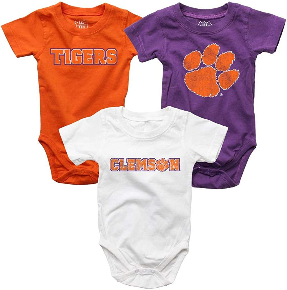 Wes and Willy Infant Clemson 3 University Max 67% OFF Pack Bodysuits Tigers Cheap mail order specialty store