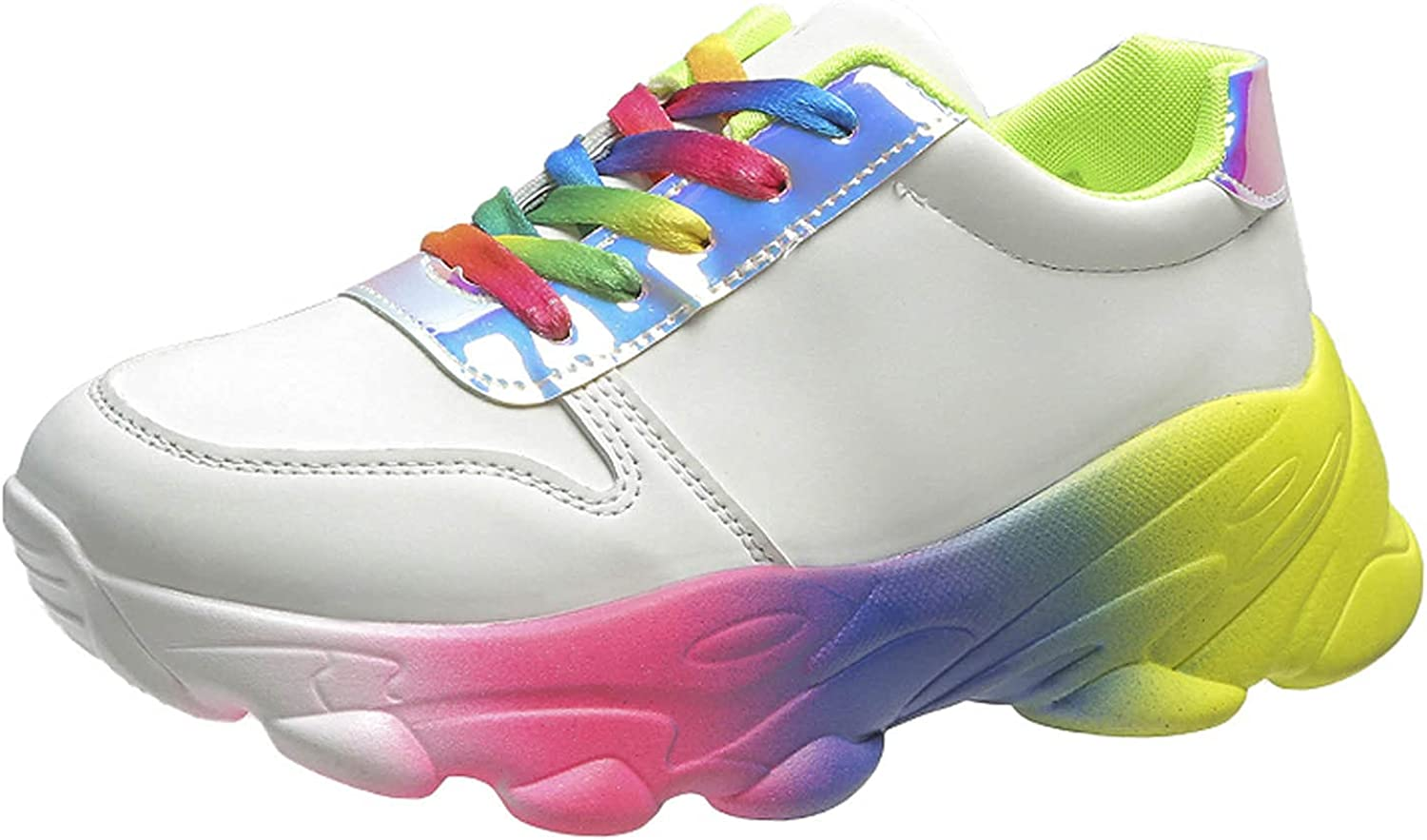 Womens Shoes 2021 Plus Size Thick-Soled Color Sports Casual Walking Shoes Comfortable Non-Slip Sneakers