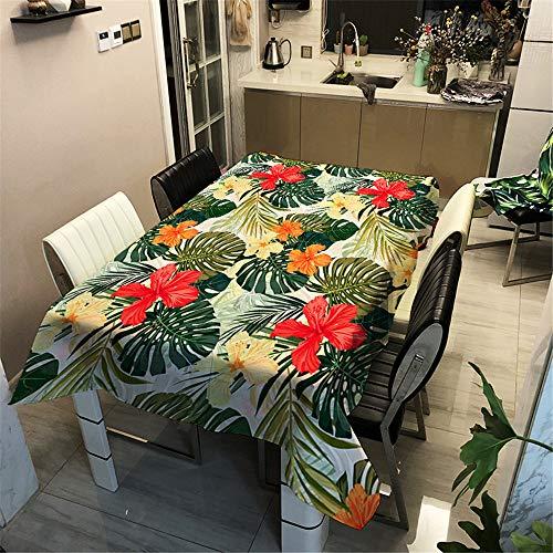 Tovaglia Idrorepellente Antimacchia, Morbuy Rettangolare 3D Floreale Moderne Impermeabile Lavabile Copritavolo Tovaglia per Cucina Soggiorno Giardino Decorazione (Monstera,140x200cm)