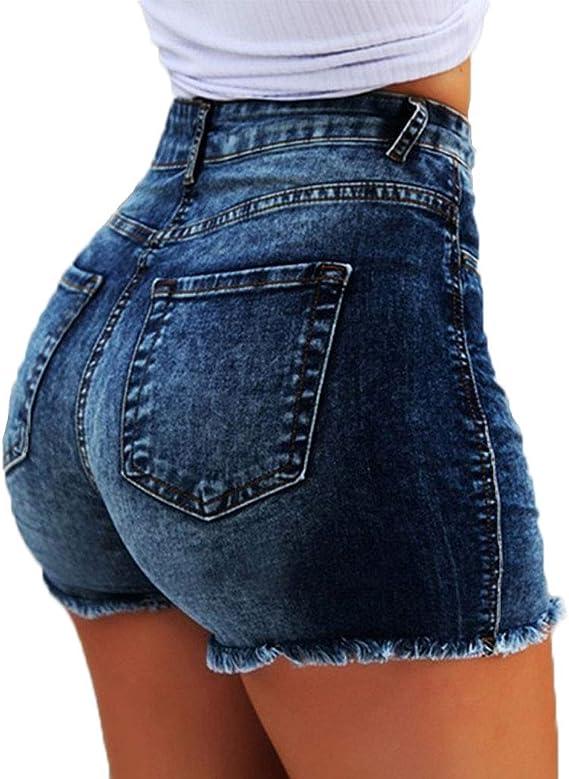 ShallGood Vaquero Mujeres De Cintura Alta con Flecos Casual Hot Jeans Denim Shorts Pantalones Cortos De Verano para Mujeres Pantalones