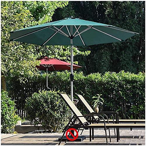 HUYEERDF Parasol para jardín Patio Trasero césped Plegable Polo de Aluminio manivela Redonda Paraguas sombrilla Verde Oscuro con 8 Costillas UV50 +
