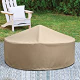 Patio Armor SF46618 260 GSM PVC F Pit Ripstop 40'' Round Firepit Cover, Taupe