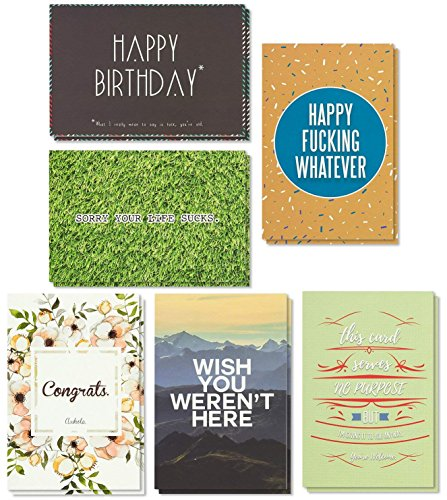 Birthday Cards Box Set � 36 Pack Happy Birthday Cards, 6 Offensive Funny Designs, Birthday Cards Bulk, Envelopes Included, 4 x 6 Inches