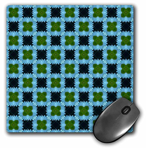 3dRose Jaclinart Blue Green and Navy Geometric Floral Collection - Navy Blue and Moss Green Checkered Abstract Flowers and Shapes on a Light Blue Background - Mousepad (mp_63954_1)