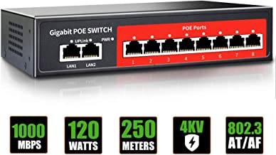 $45 » 8 Port Gigabit PoE Switch with 2 Gigabit Uplink,802.3af/at Compliant,120W Built-in Power,Unmanaged Metal Plug and Play