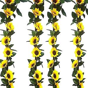 Silk Flower Arrangements Sucpur 4Pcs Artificial Sunflower Garland, 7.2 Ft Hanging Plants Silk Sunflower Cine Artificial Flowers with Green Leaves 10 Heads Silk Flower lvy Vine Garland Sunflower Decor Swag Hanging Wreath